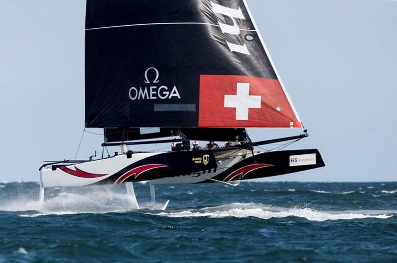 Even the immaculate Alinghi crew found it hard going in today's sea state - GC32 Oman Cup day 3 photo copyright Sailing Energy / GC32 Racing Tour taken at  and featuring the GC32 class
