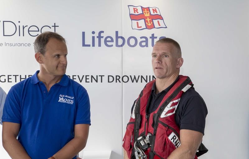 Mark Jardine and Ben Archibald at the new RNLI and GJW Direct Lifejacket Clinic association announcement photo copyright Tim Olin / www.olinphoto.co.uk taken at  and featuring the  class