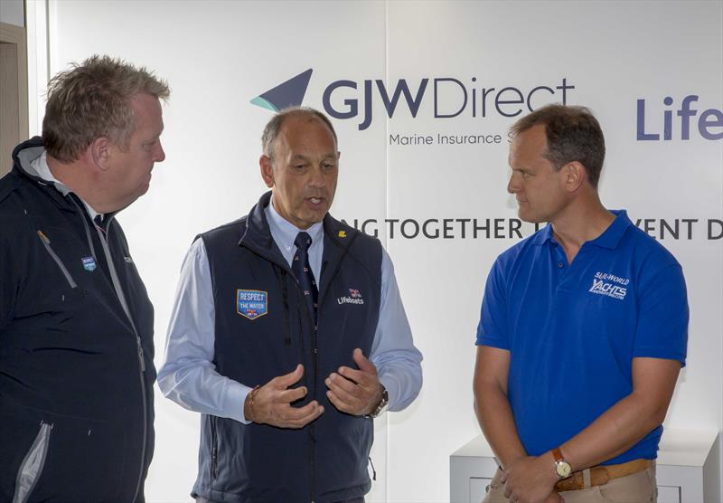 (l-r) Jez Entwistle, Brian Robson & Mark Jardine at the new RNLI and GJW Direct Lifejacket Clinic association announcement - photo © Tim Olin / www.olinphoto.co.uk