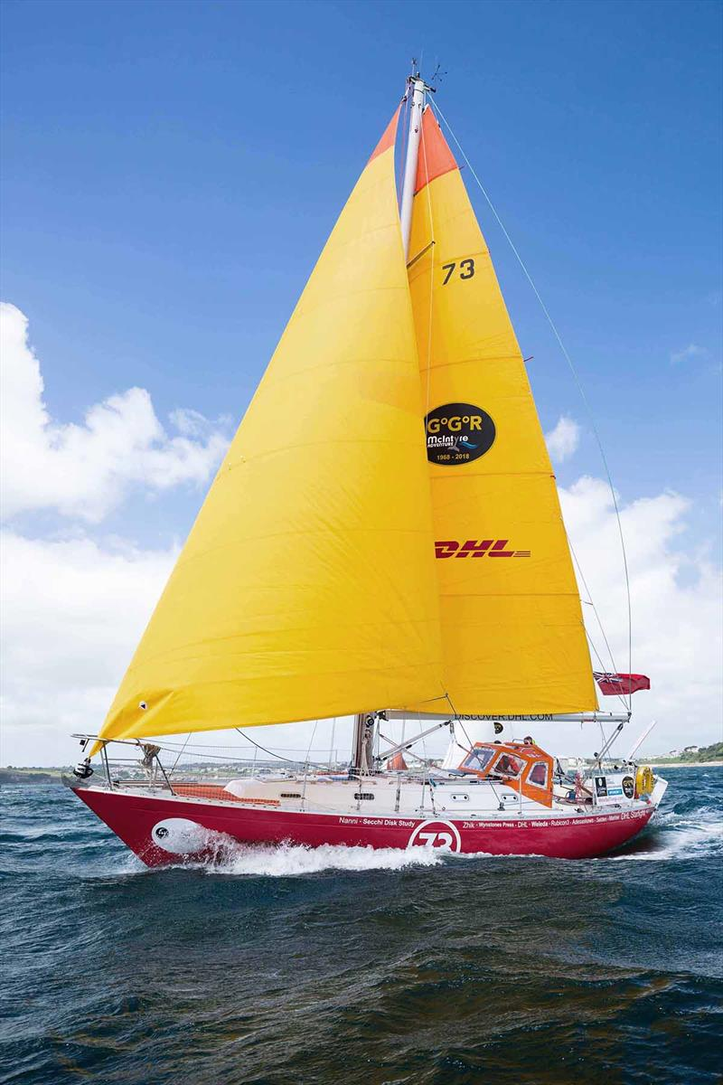 Susie Goodall and her Rustler 36 DHL Starlight - now in search of rain - Golden Globe Race photo copyright James Darling taken at  and featuring the Golden Globe Race class