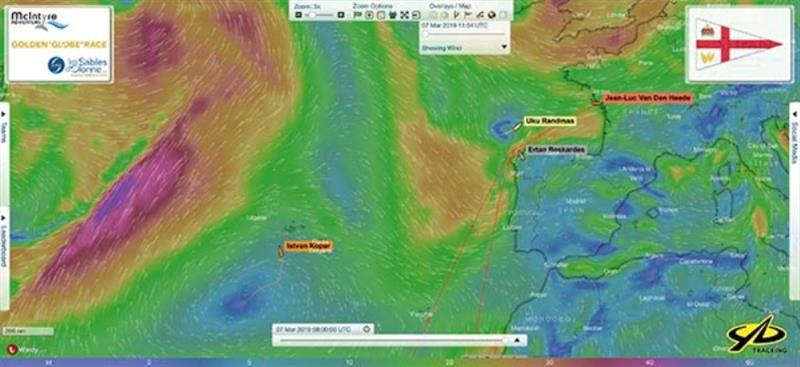 Relative positions of Uku Randmaa and Istvan Kopar in the  North Atlantic at 0800 UTC today - Golden Globe Race - photo © Golden Globe Race
