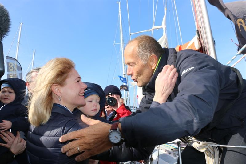 The biggest welcome came from Uku's wife Maibi and their twin sons Thor and Orm - Golden Globe Race, Day 252 - photo © Jane Zhou / GGR / PPL