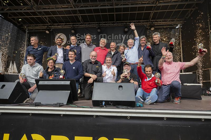 2018-19 Golden Globe skippers pose stage for the awards ceremony at Les Sables D'Olonne, with Mayor Yannick Moureau, and Race Founder Don McIntyre - Golden Globe Race, Day 295 photo copyright Tim Bishop / PPL / GGR taken at  and featuring the Golden Globe Race class