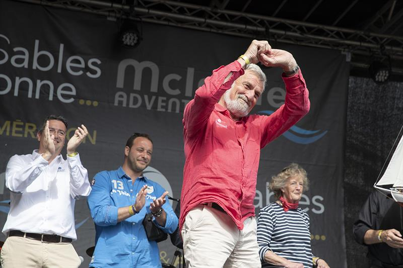 Jean-Luc Van Den Heede enjoying the applause during the GGR prizegiving in Les Sables d'Olonne today - Golden Globe Race, Day 295 photo copyright Tim Bishop / PPL / GGR taken at  and featuring the Golden Globe Race class