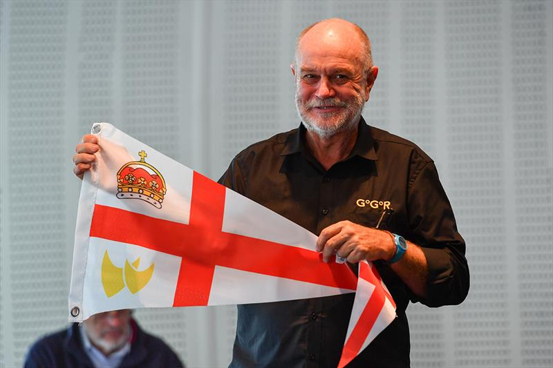 Race Chairman Don McIntyre presenting the Royal Nomuka YC flag photo copyright Christophe Favreau / PPL / GGR taken at  and featuring the Golden Globe Race class