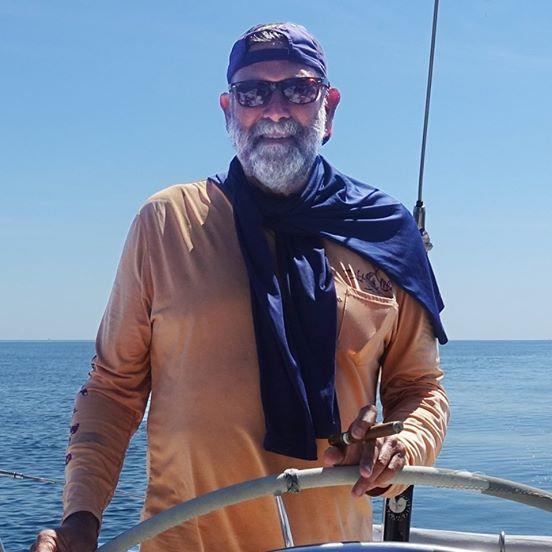 Guy deBoer at the helm ahead of the Golden Globe Race 2022 photo copyright Images courtesy of Guy deBoer Collection taken at Key West Community Sailing Center and featuring the Golden Globe Race class