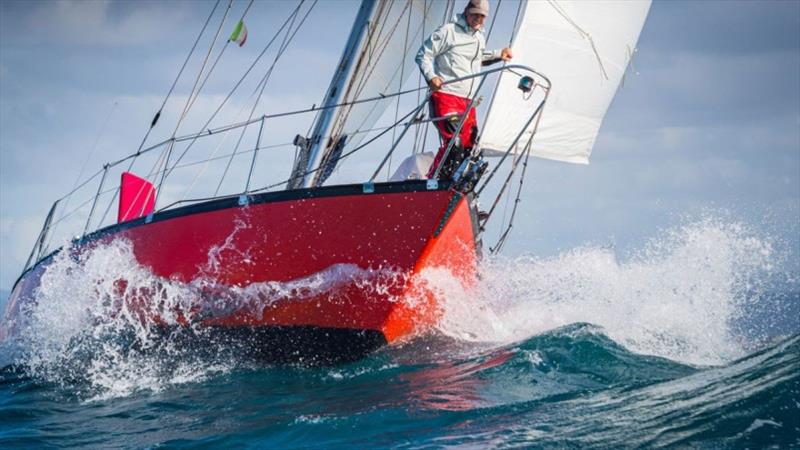 Guido Cantini on the bow of his GGR 2022 Vancouver 34 `Hannah of Cowes` - photo © Golden Globe Race