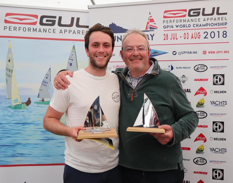 Winners of the Bronze Fleet, George and Neil Meredith in the Gul GP14 Worlds at Mount's Bay - photo © Lee Whitehead / www.photolounge.co.uk