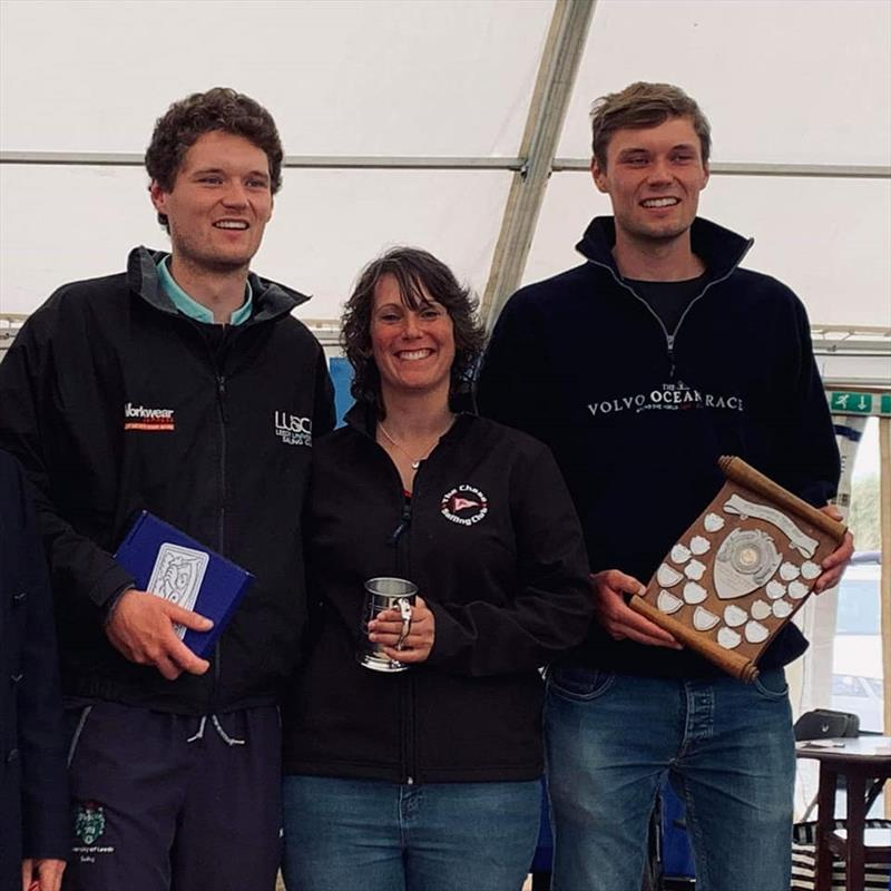 Chase GP14 team, flight winners and 6th, Sam Pickering, Michelle Evans, Ben Pickering photo copyright Tina Temple taken at Chase Sailing Club and featuring the GP14 class