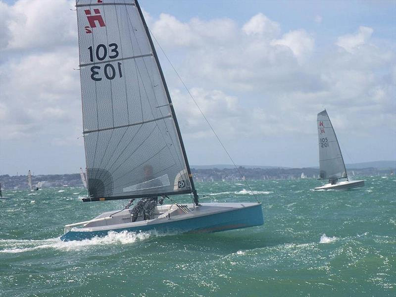By the Sunday the conditions were getting seriously breezy during the Hadron H2 Nationals at Warsash - photo © H2 Class