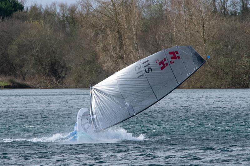 Richard Leftley practices his capsize technique at South Cerney SC - photo © Dave Whittle