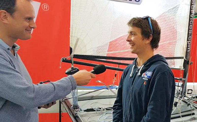 Mark Jardine interviews Ben Saxton photo copyright Harken UK taken at RYA Dinghy Show and featuring the  class