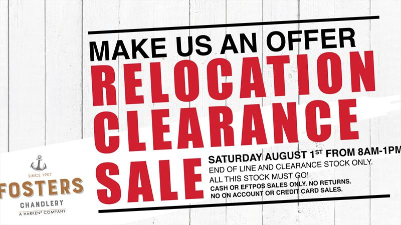 Fosters Harken will hold a one day relocation clearance sale on August 1 - photo © Fosters Harken