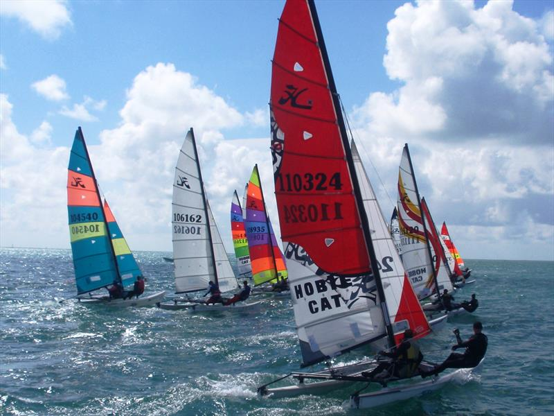 Cat start at the UBS Jersey Regatta photo copyright Bill Harris taken at Royal Channel Islands Yacht Club and featuring the Hobie 16 class
