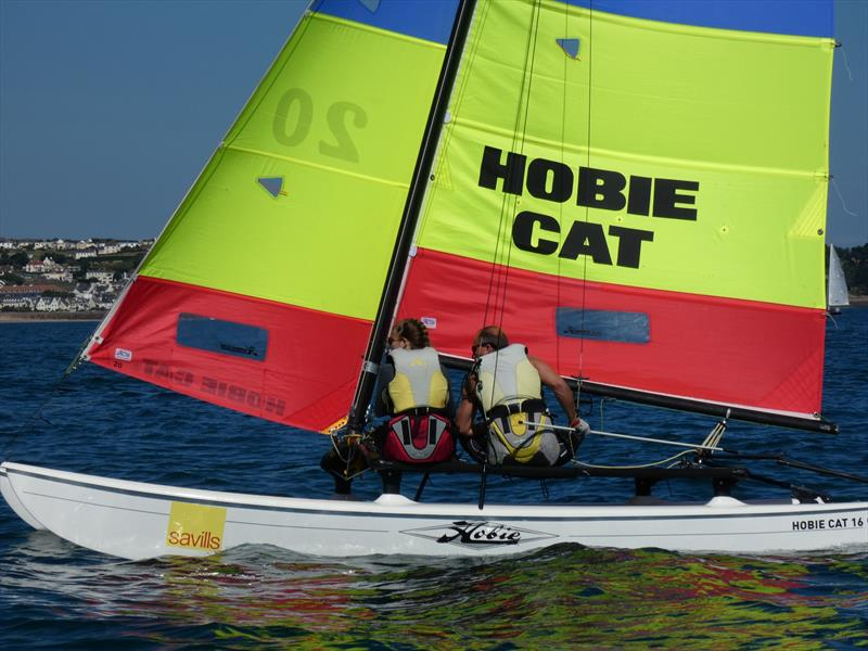 Hobie 16 team, Aaron Le Cornu and daughter Zara during the Love Wine 'Summer Breeze' Series in Jersey - photo © Elaine Burgis