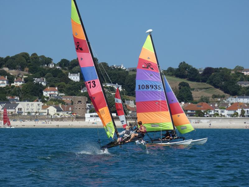 Youth team, Leo Marshall and Tom Holden, flying their Hobie 16 in the bay during the Love Wine 'Summer Breeze' Series in Jersey - photo © Elaine Burgis