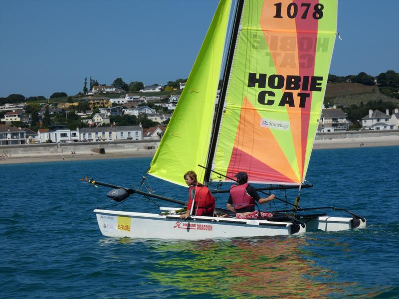 Hobie Dragoons Juniors Will Dengate and Archie de Carteret during the Love Wine 'Summer Breeze' Series in Jersey - photo © Elaine Burgis