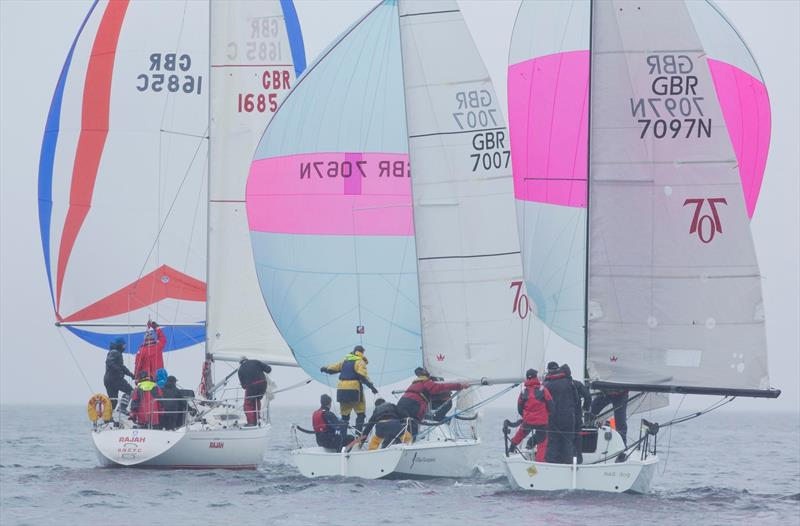 Miss Moneypenny and Mad Dog battle downwind in the 707 fleet in the Scottish Series at Clyde - photo © Marc Turner / CCC