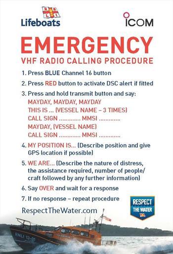 Marine VHF Radio Calling Procedure Stickers