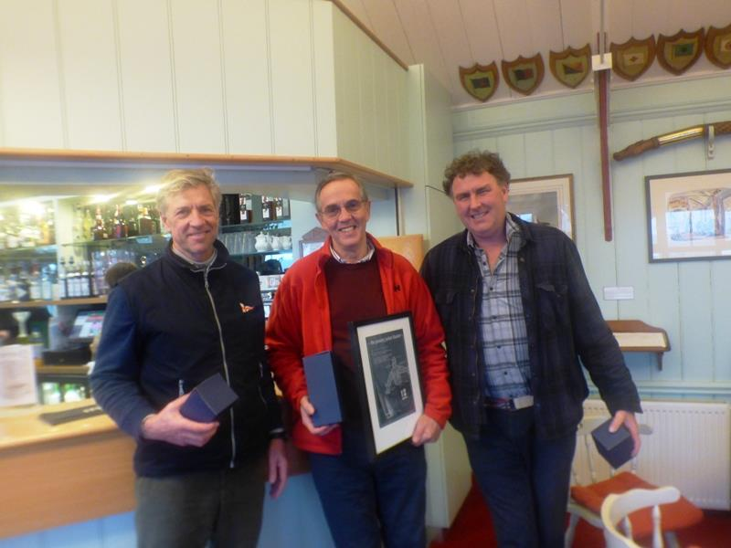 Bembridge Illusion January Jacket top three (l-r) Bruce Huber (3rd), Raymond Simonds (1st), Mark Downer (2nd) - photo © Mike Samuelson