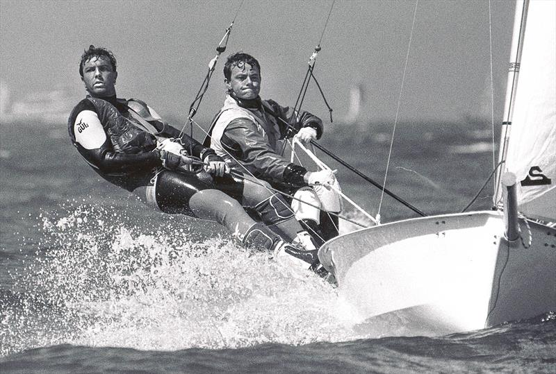 Jonathan Pudney and Ian Roman sailing in the 1989 I14 Worlds at San Fran - photo © Event Media