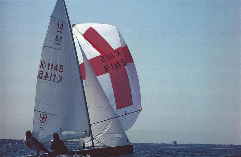 The late, great Jeremy Pudney (PUD) - a.k.a. 'Mr International 14' sailing at the last POW hosted by Tynemouth SC photo copyright TSC taken at Tynemouth Sailing Club and featuring the International 14 class