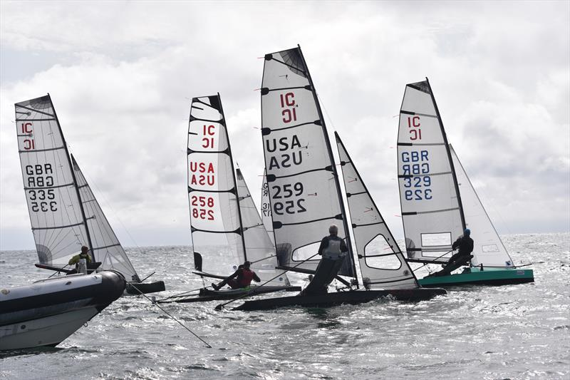 Only six boats on the start line but a lot of tactical positioning at play during the International Canoe Worlds at Pwllheli - photo © David Henshall