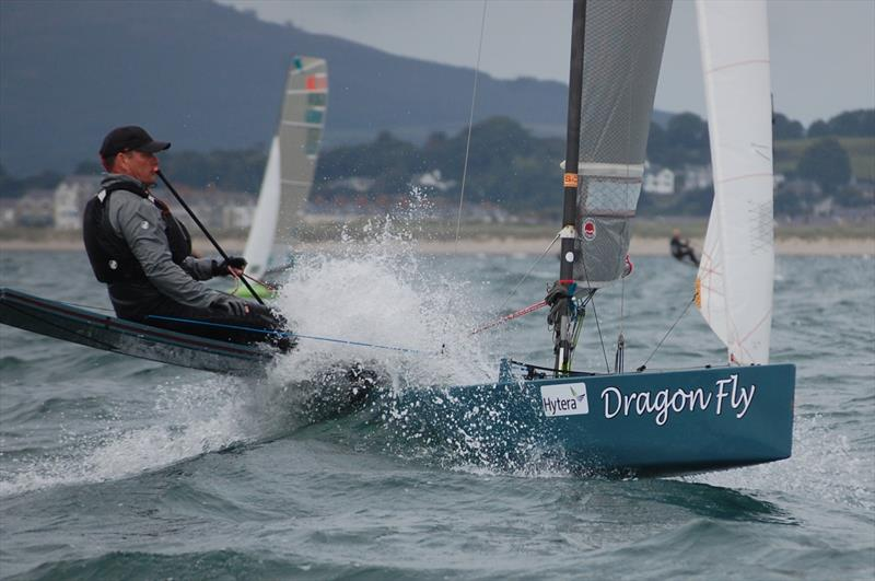 Alistair Warren in his Dragonfly seemed to enjoy a bow up attitude round the course on day 6 of the International Canoe Worlds at Pwllheli - photo © David Henshall