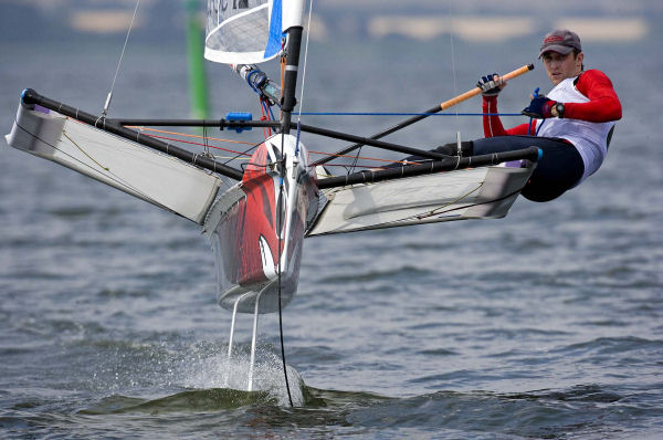 Rohan Veal on day one of the International Moth worlds at Horsens, Denmark - photo © Th.Martinez / www.thmartinez.com