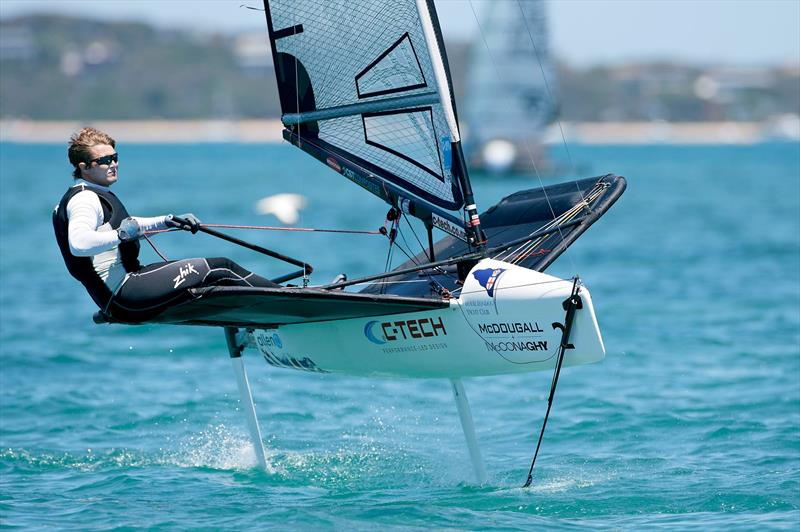Chris Rashley (GBR) has not let disc problems distract him at the 2015 McDougall   McConaghy International Moth Worlds - photo © Th. Martinez / Sea&Co / 2015 Moth Worlds