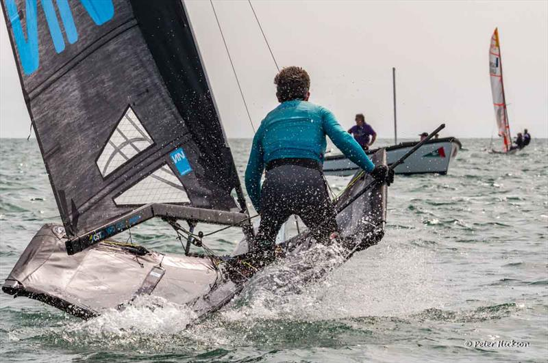 Michael Lennon wins the International Moths at Chichester Harbour Race Week 2017 photo copyright Peter Hickson taken at Hayling Island Sailing Club and featuring the International Moth class