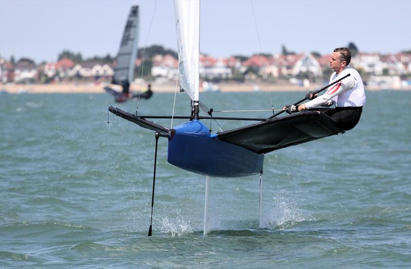 Noble Allen 2018 International Moth UK Championship at Thorpe Bay day 4 photo copyright Mark Jardine / IMCA UK taken at Thorpe Bay Yacht Club and featuring the International Moth class