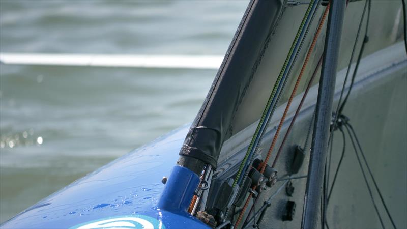 The mouse (look on the hull above the wing join) on Kyle Stoneham's boat during the Noble Allen 2018 International Moth UK Championship photo copyright Oliver Hartas / www.hartasproductions.com taken at Thorpe Bay Yacht Club and featuring the International Moth class