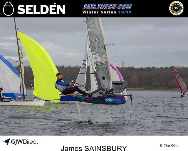 James Sainsbury's foiling Moth during the 2018 Grafham Grand Prix photo copyright Tim Olin / www.olinphoto.co.uk taken at Grafham Water Sailing Club and featuring the International Moth class