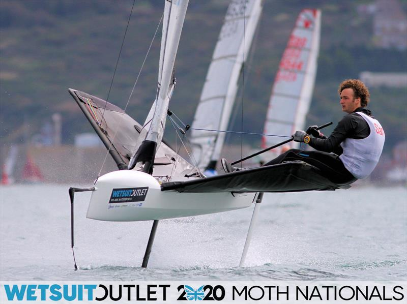 Eddie Bridle on day 5 of the Wetsuit Outlet UK Moth Nationals photo copyright Mark Jardine / IMCA UK taken at Weymouth & Portland Sailing Academy and featuring the International Moth class
