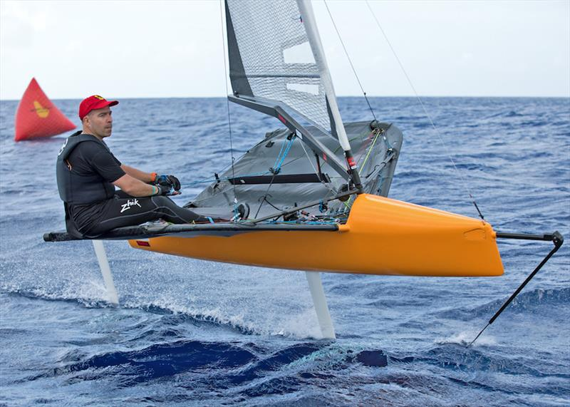 International Moth sailor Andy Budgen reins in the 'beast' - photo © Peter Marshall / BSW