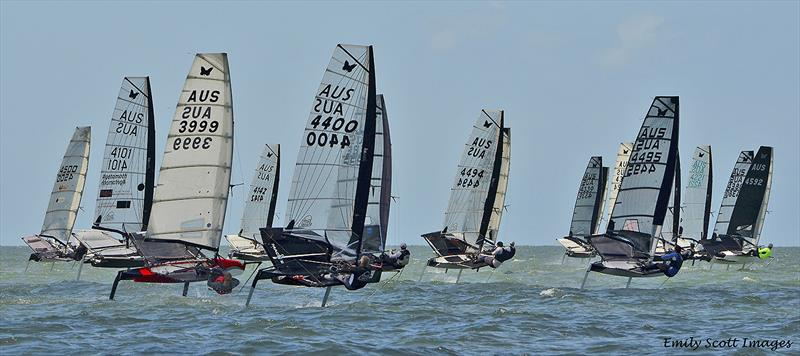 Fleet action at the 2019 International Moth AUS Championship - photo © Emily Scott Images