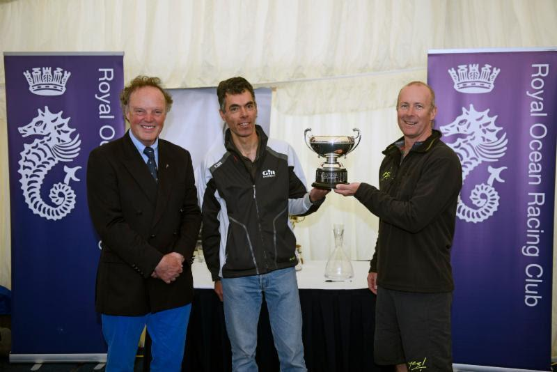 RORC Commodore, Michael Boyd with joint RORC IRC National Championship trophy winners, Benoit D'halluin, helmsman of Dunkerque - Les Dunes de Flandre and Adam Gosling, owner/driver of Yes! at the RORC IRC Nationals - photo © Rick Tomlinson / www.rick-tomlinson.com