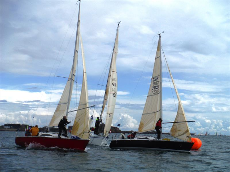 Less Xpense, Glory Days, Super Q at the windward mark on Saturday during the UBS Jersey Regatta 2017 - photo © Bill Harris