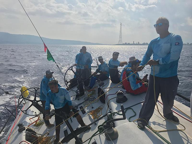 Optimum 3 crew on Day 2 of the Rolex Middle Sea Race 2018 photo copyright Optimum 3 taken at Royal Malta Yacht Club and featuring the IRC class
