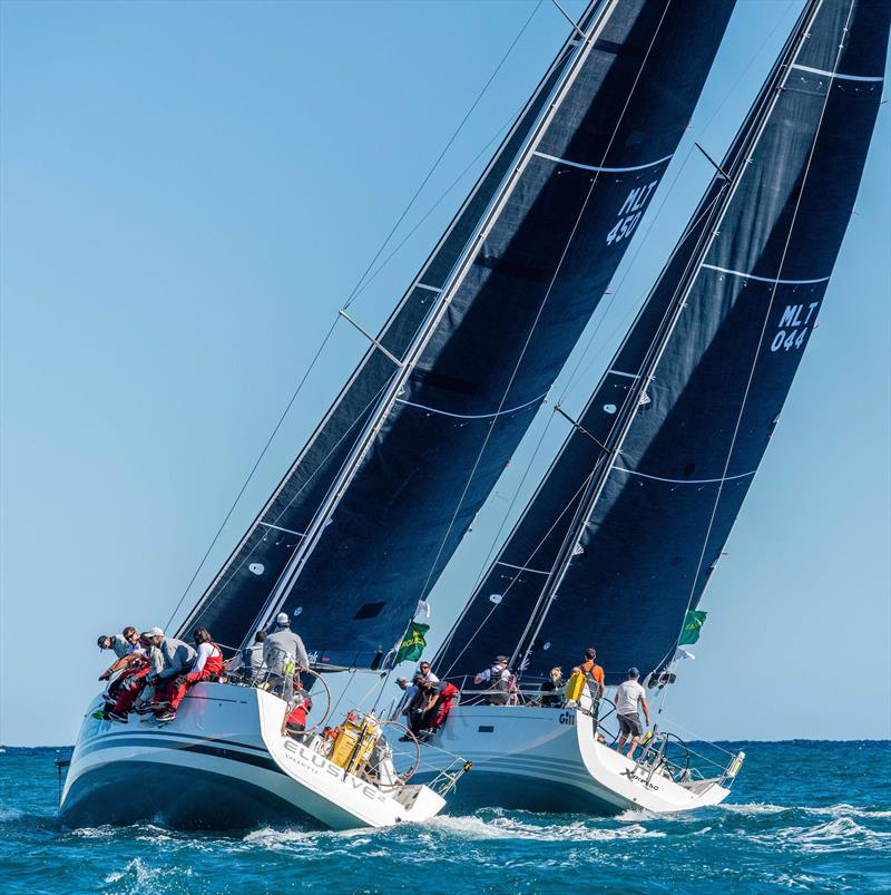 Xpresso, MLT 044, XP44ELUSIVE 2 and MLT 450, Beneteau First 45, start the 2020 Rolex Middle Sea Race photo copyright Rolex / Kurt Arrigo taken at Royal Malta Yacht Club and featuring the IRC class