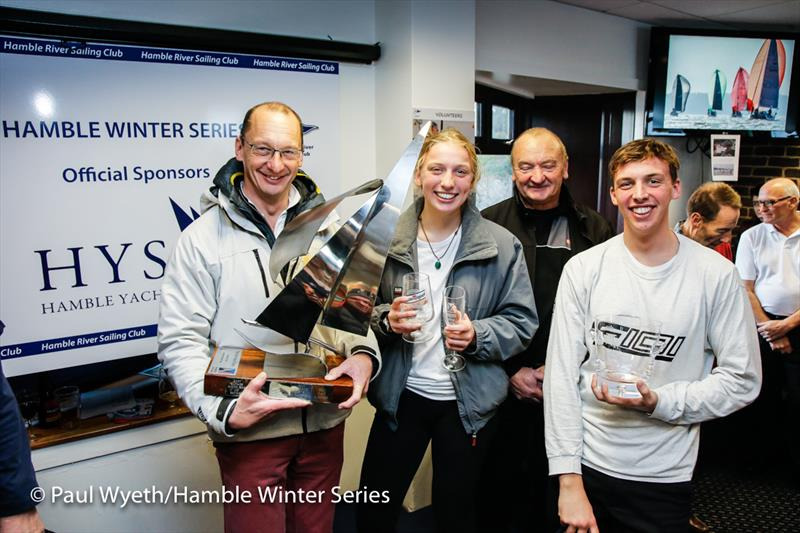 Simon Perry and crew with the Paul Heys Trophy (presented by Chaz Ivill) in the HYS Hamble Winter Series 2019 - photo © Paul Wyeth / www.pwpictures.com