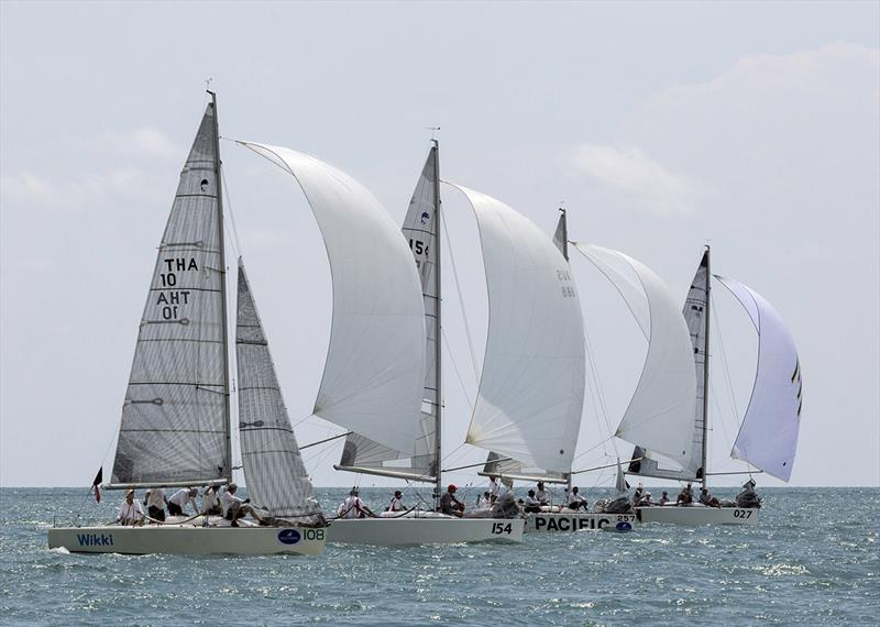 The one-design Platus provide some of the closest racing, seen here in the final race of the 2017 regatta.  - photo © Guy Nowell