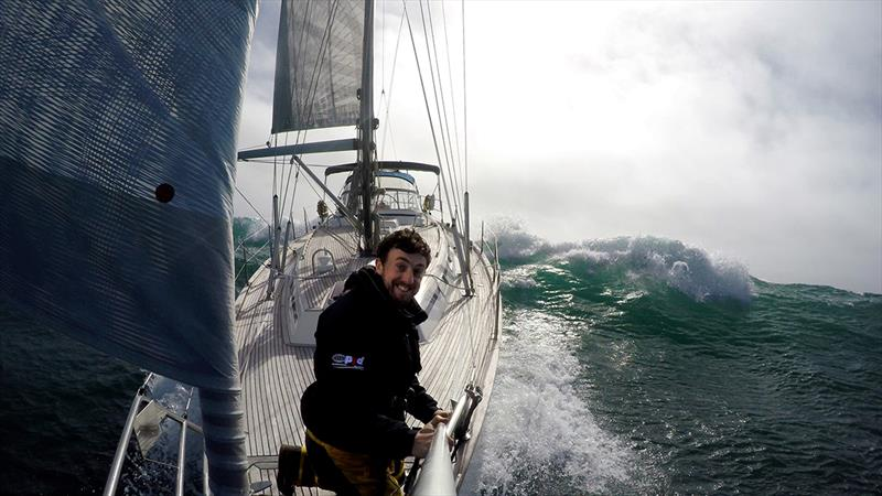 Irish skipper Gregor McGuckin enjoying some heavy weather downwind sailing in big seas during a delivery voyage photo copyright Gregor McGuckin / GGR / PPL taken at  and featuring the IRC class