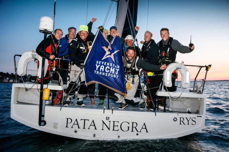 A jubilant crew on Pata Negra after crossing the RYS finish line in the Sevenstar Round Britain and Ireland Race ahead of their IRC competitors - photo © Paul Wyeth / RORC