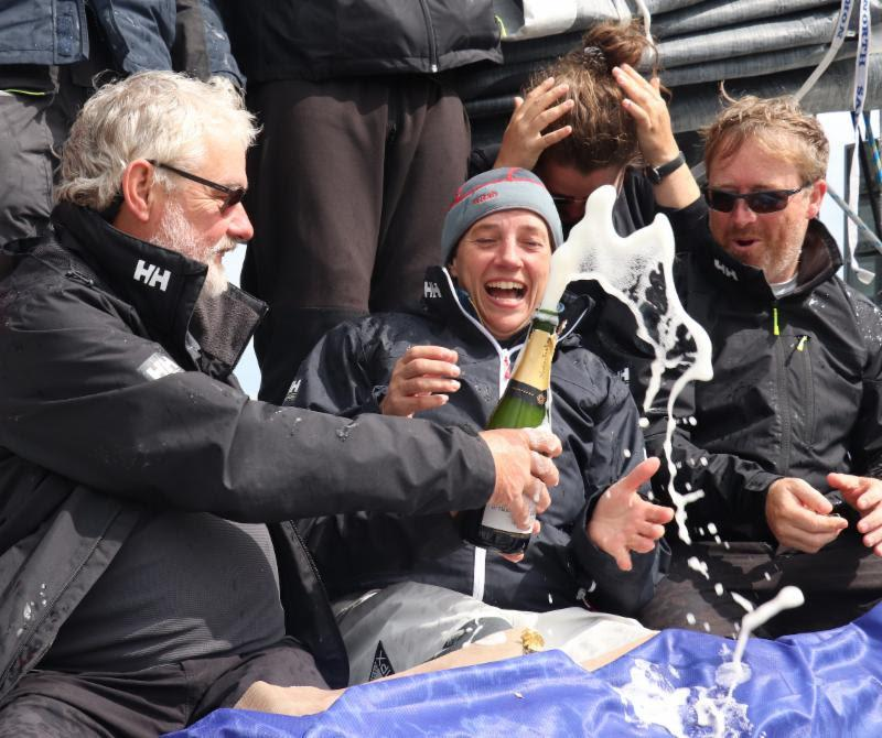Taking part in the race was a birthday present for Alan Baird (left) on Performance Yacht Racing's EH01. His family were on the dock to greet him after the finish in Cowes - photo © Louay Habib