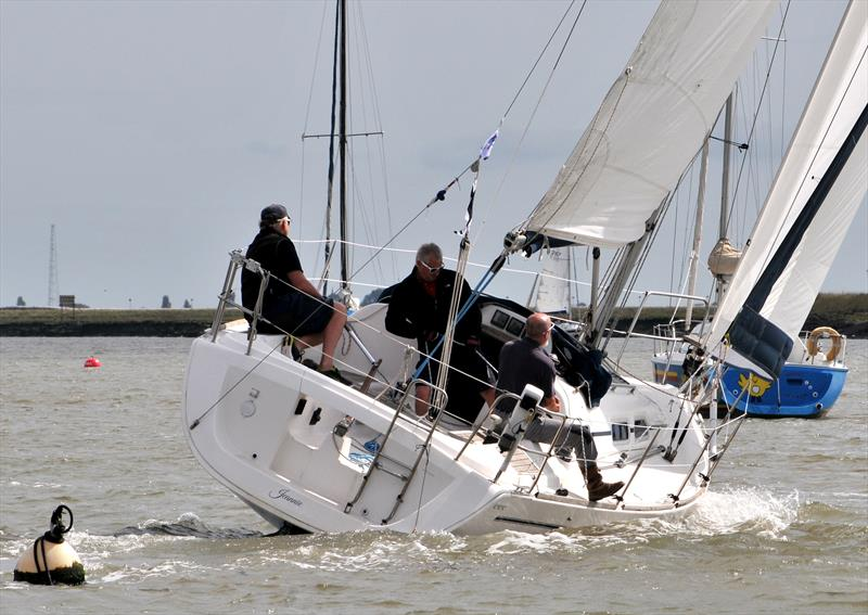 Jeannie short tacking through the moorings on day 7 of Burnham Week - photo © Alan Hanna