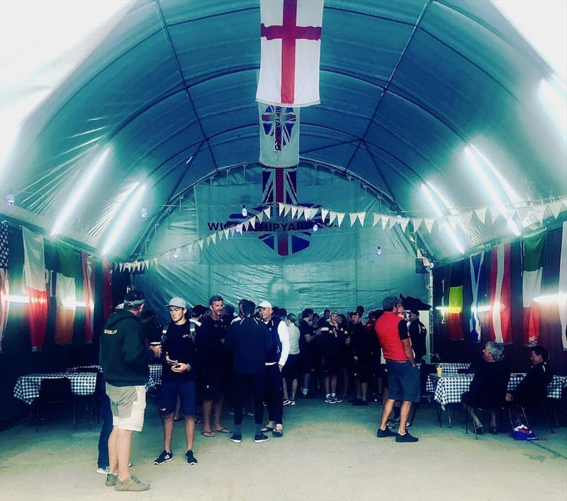 Hog Roast and drinks for all the FAST40  crews and race management team at the Wight Shipyard photo copyright Louay Habib taken at Royal Ocean Racing Club and featuring the IRC class