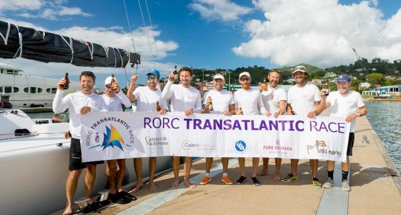 Celebrations in Grenada after completing the RORC Transatlantic Race in an elapsed time of 12 days 5 hrs 34 mins and 35 secs, Franco Niggeler's Cookson 50 Kuka3 is in a strong position to win the RORC Transatlantic Race Trophy  photo copyright RORC / Arthur Daniel taken at Royal Ocean Racing Club and featuring the IRC class