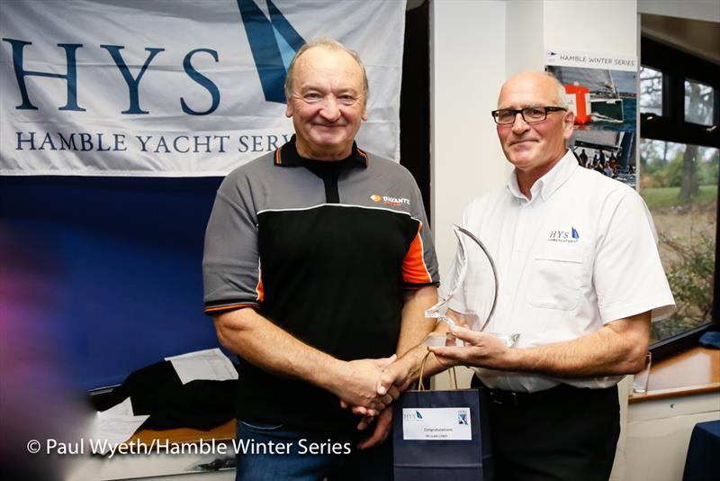 Chaz Ivill accepts the Class 1 trophy in the HYS Hamble Winter Series 2018 - photo © Paul Wyeth / www.pwpictures.com